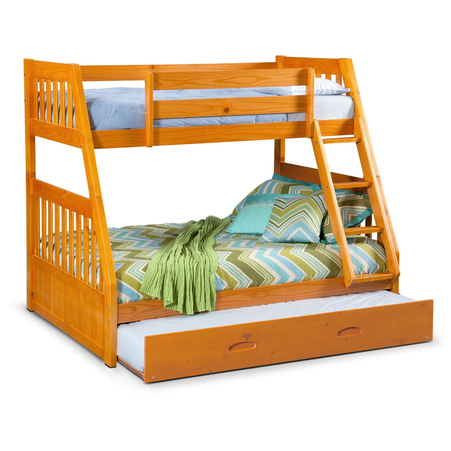 ranger pine twin full bunk bed w trundle value city. Black Bedroom Furniture Sets. Home Design Ideas