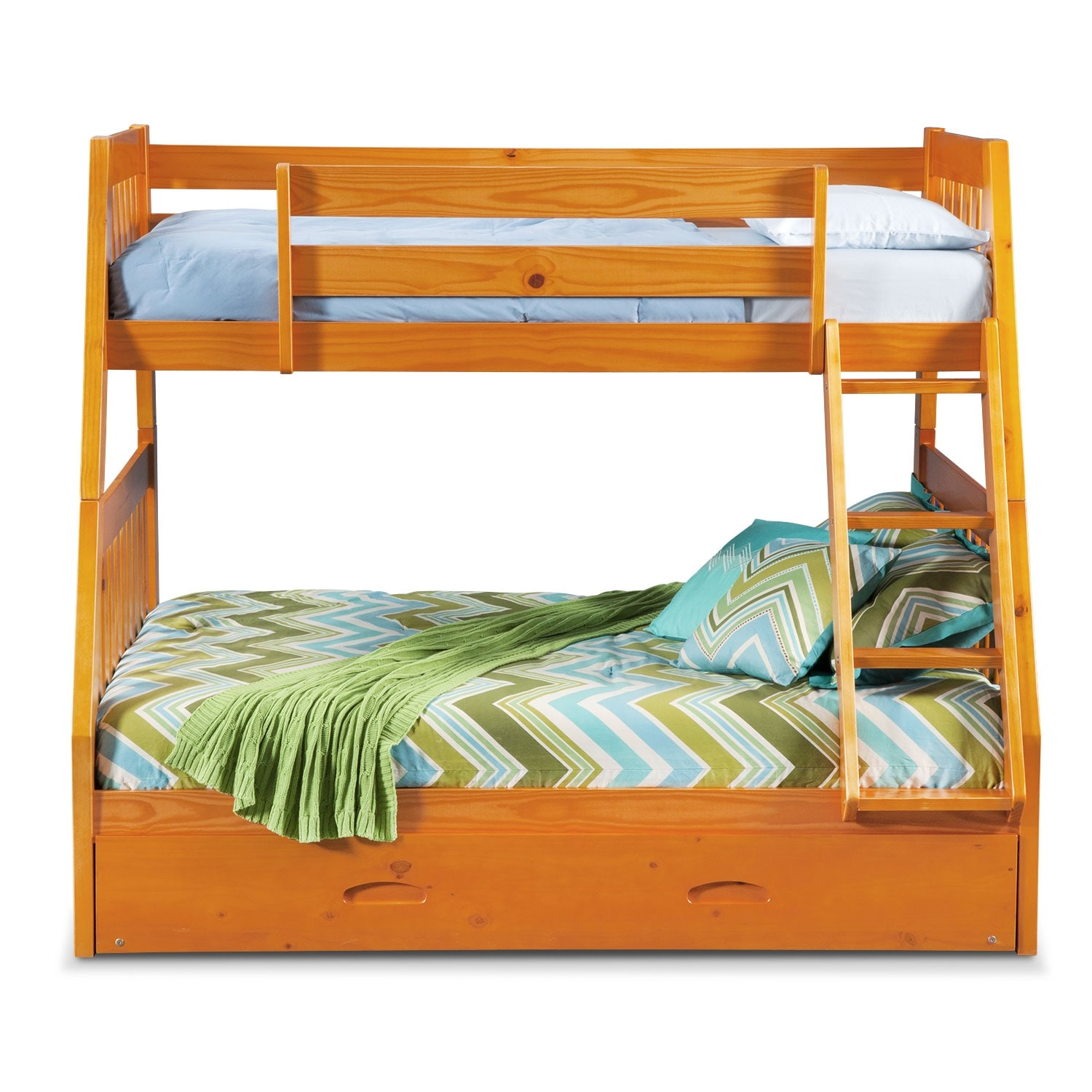ranger twin over full bunk bed with trundle pine value. Black Bedroom Furniture Sets. Home Design Ideas
