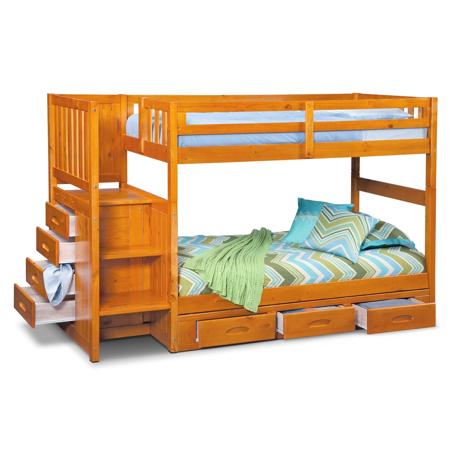 Ranger Pine Twin Twin Bunk Bed W Stairs And 7 Drawer