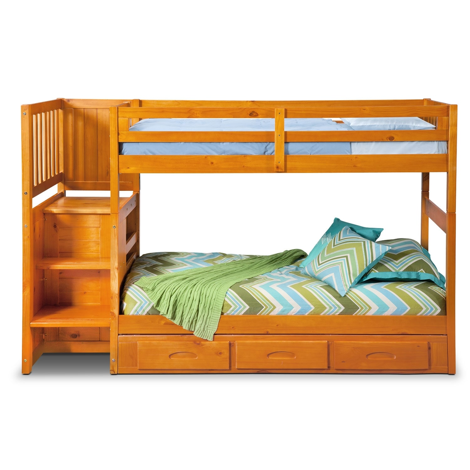 Ranger twin over twin bunk bed with storage stairs underbed drawers value city furniture - Bunk bed with drawer steps ...