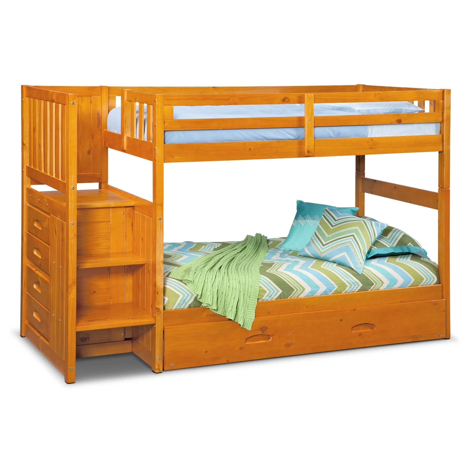 [Ranger Pine Twin/Twin Bunk Bed w/ Stairs, Storage and Trundle]