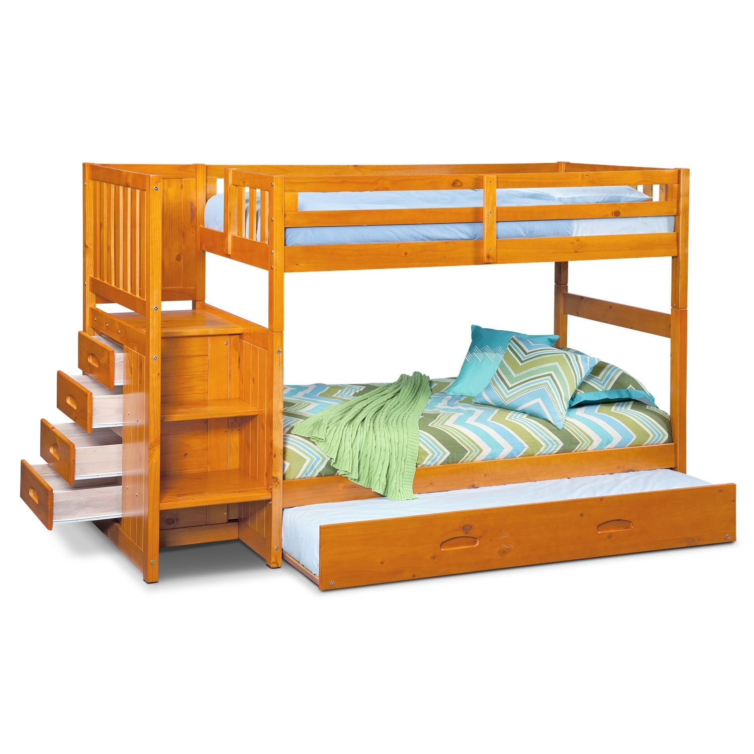 ranger twin over twin bunk bed with storage stairs trundle pine value city furniture. Black Bedroom Furniture Sets. Home Design Ideas
