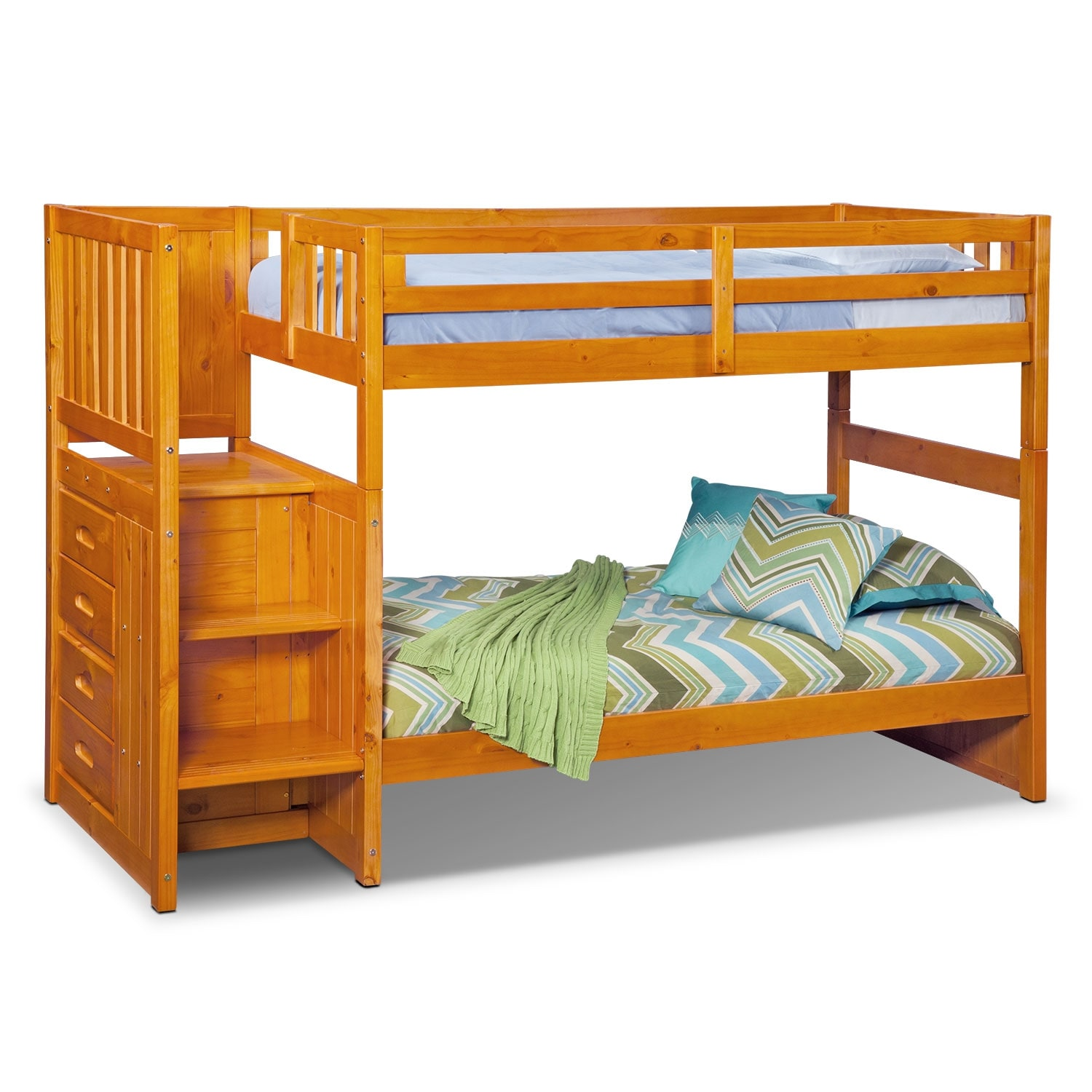 Ranger pine twin twin bunk bed w stairs and 4 drawer storage value city furniture - Bunkbeds with drawers ...