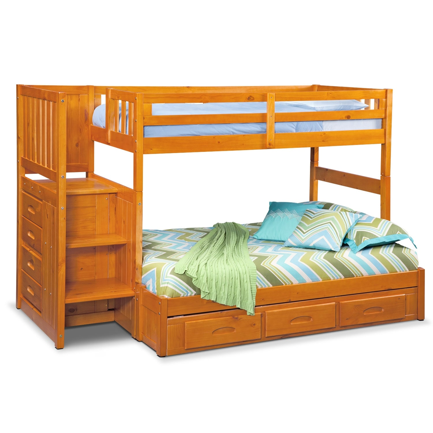 Ranger twin over full bunk bed with storage stairs underbed drawers pine american - Loft bed with drawers underneath ...