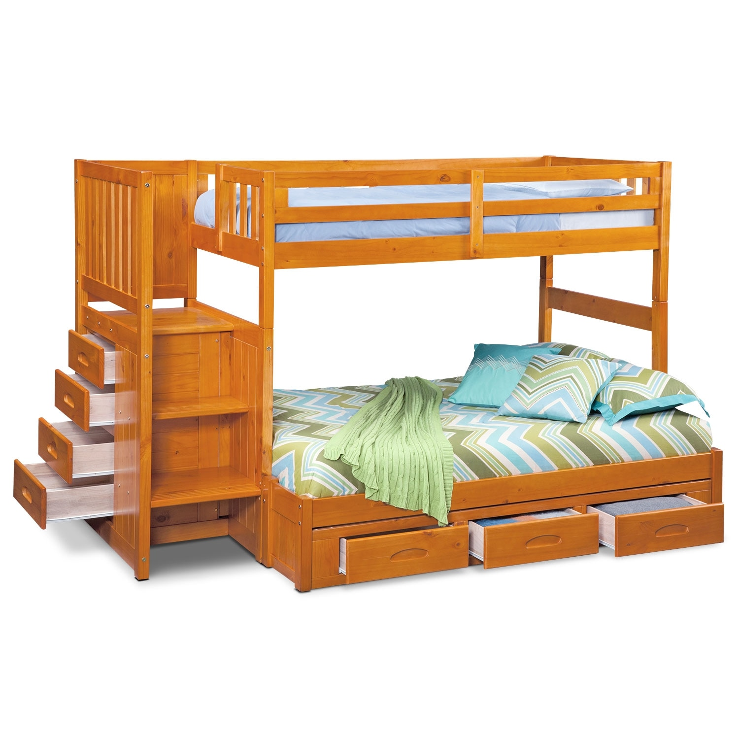 Ranger twin over full bunk bed with storage stairs underbed drawers pine value city furniture - Bunk bed with drawer steps ...