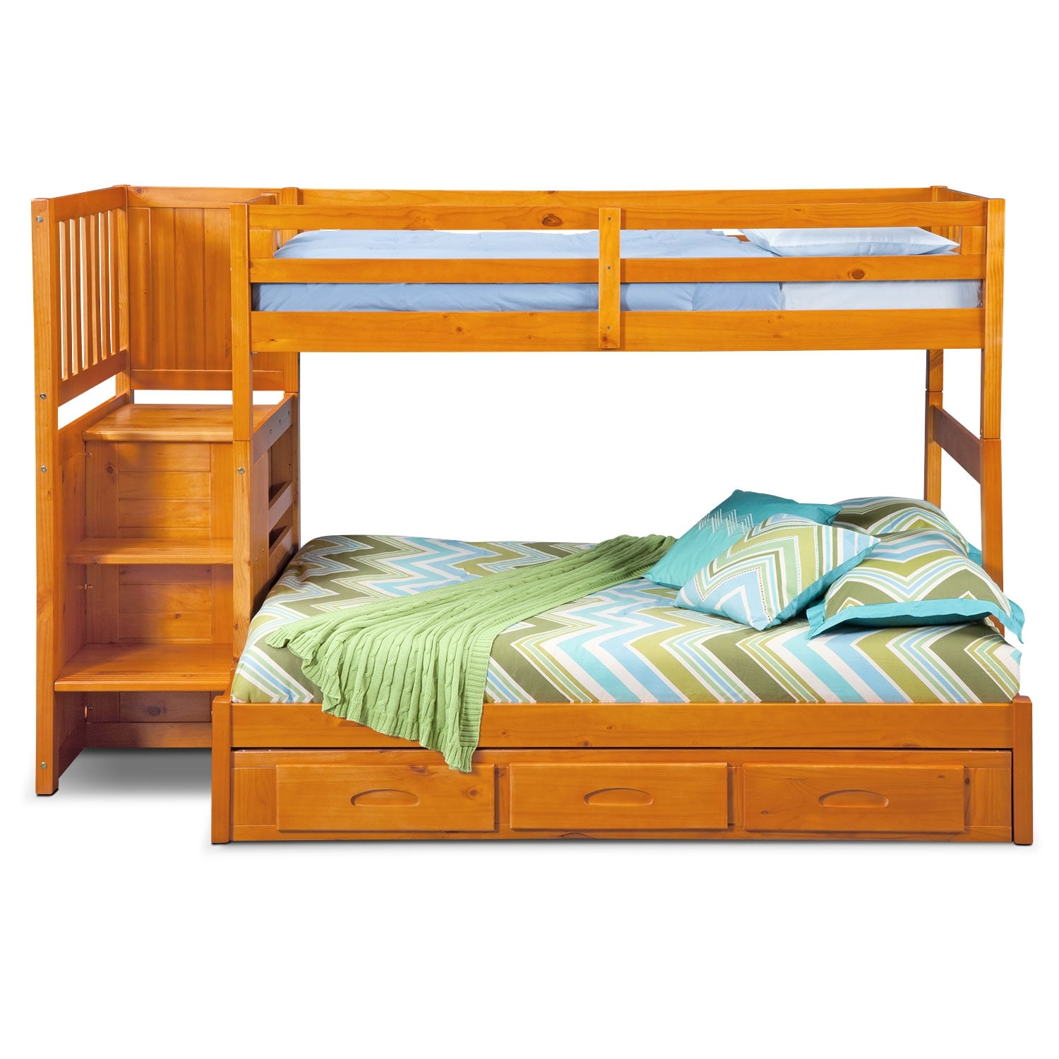 Ranger twin over full bunk bed with storage stairs underbed drawers pine value city furniture - Bunkbeds with drawers ...