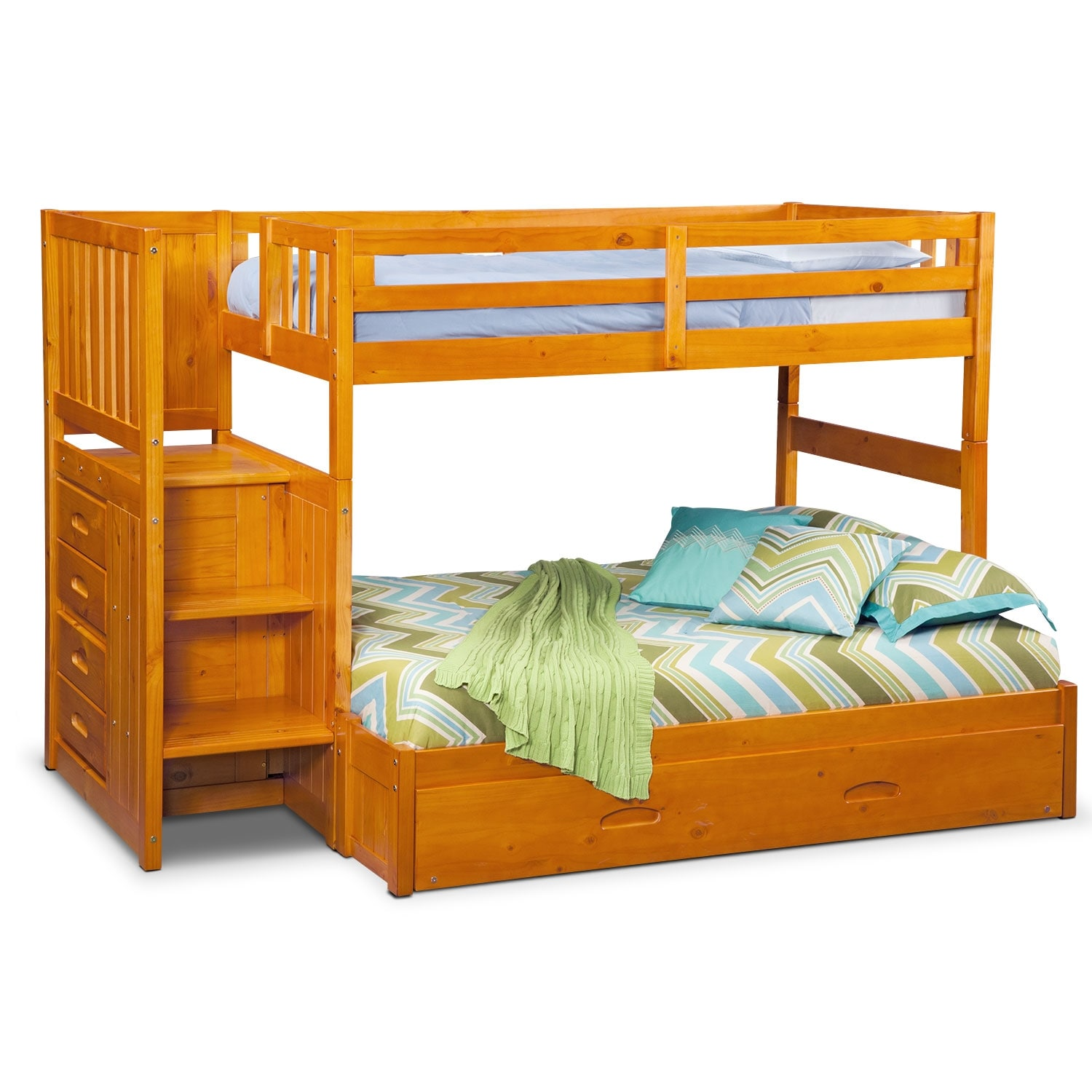 Ranger twin over full bunk bed with storage stairs for Beds with trundle