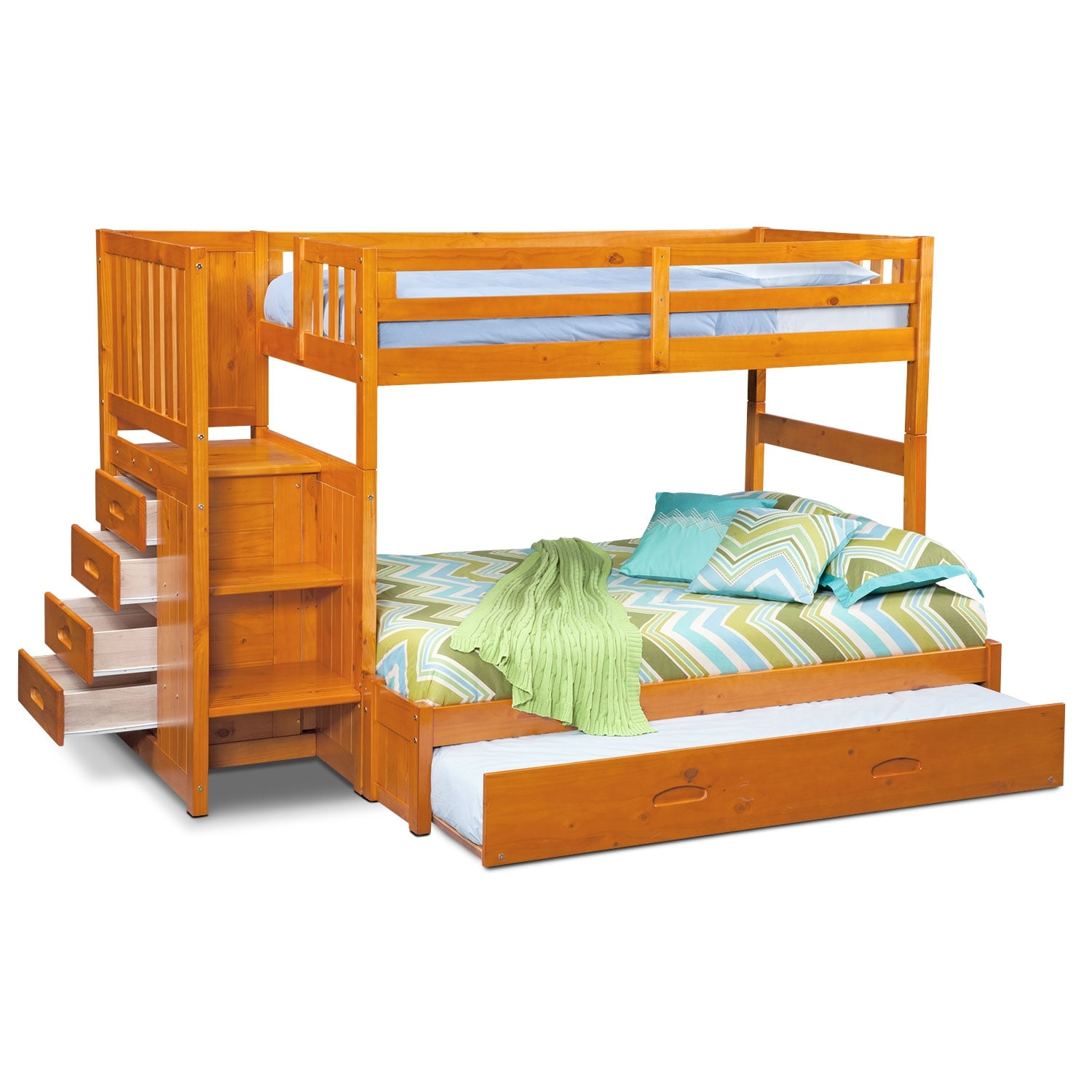 ranger twin over full bunk bed with storage stairs trundle pine american signature furniture. Black Bedroom Furniture Sets. Home Design Ideas