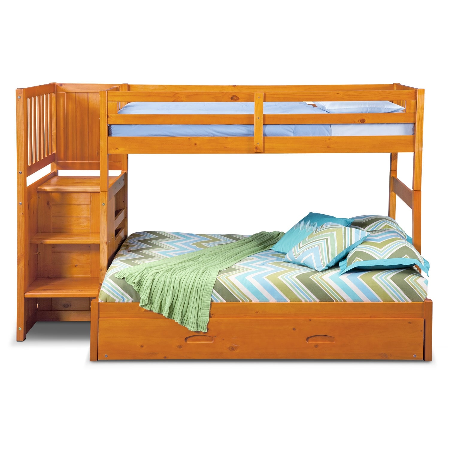ranger pine twin full bunk bed w stairs storage and trundle value city furniture. Black Bedroom Furniture Sets. Home Design Ideas
