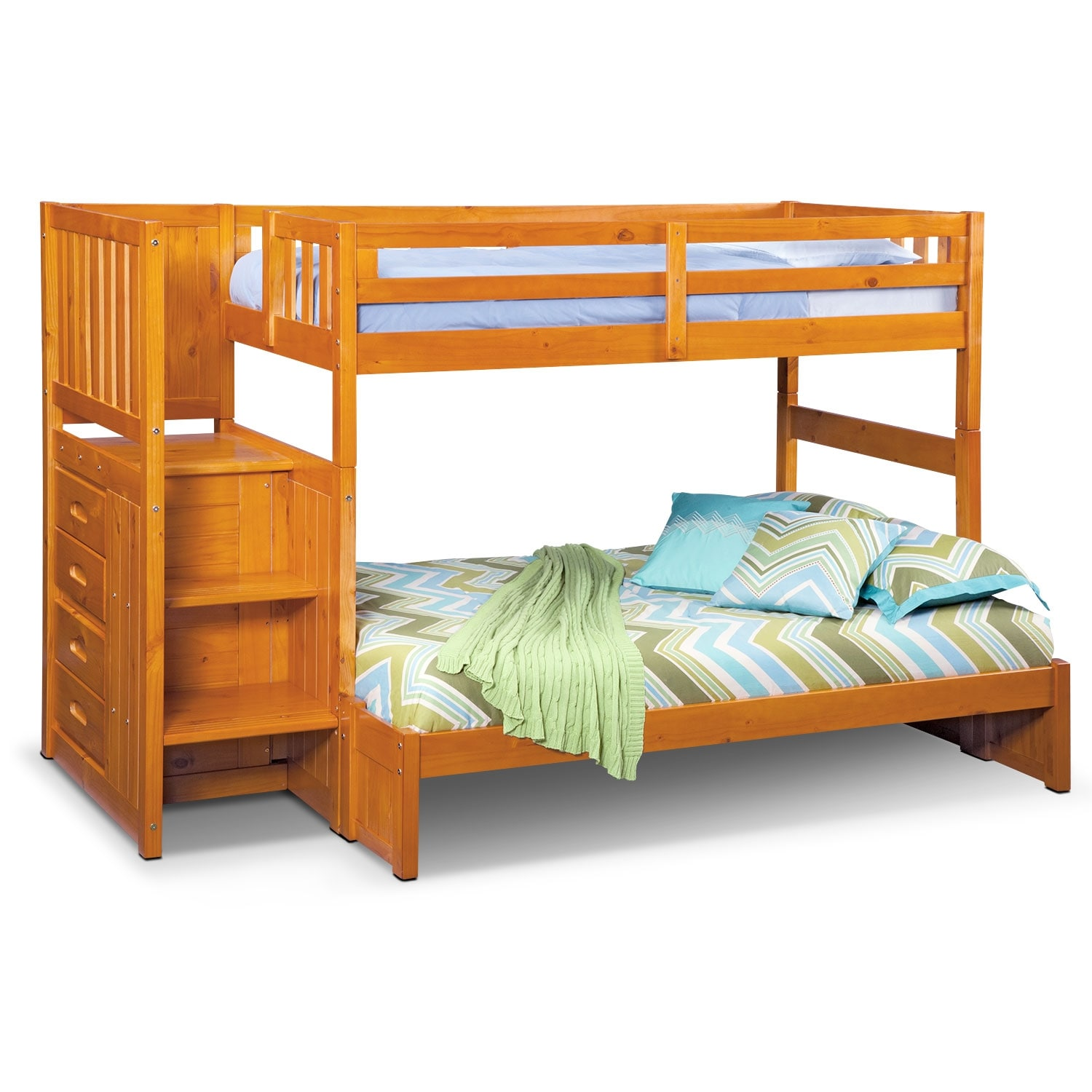 [Ranger Pine Twin/Full Bunk Bed w/ Stairs and 4-Drawer Storage]