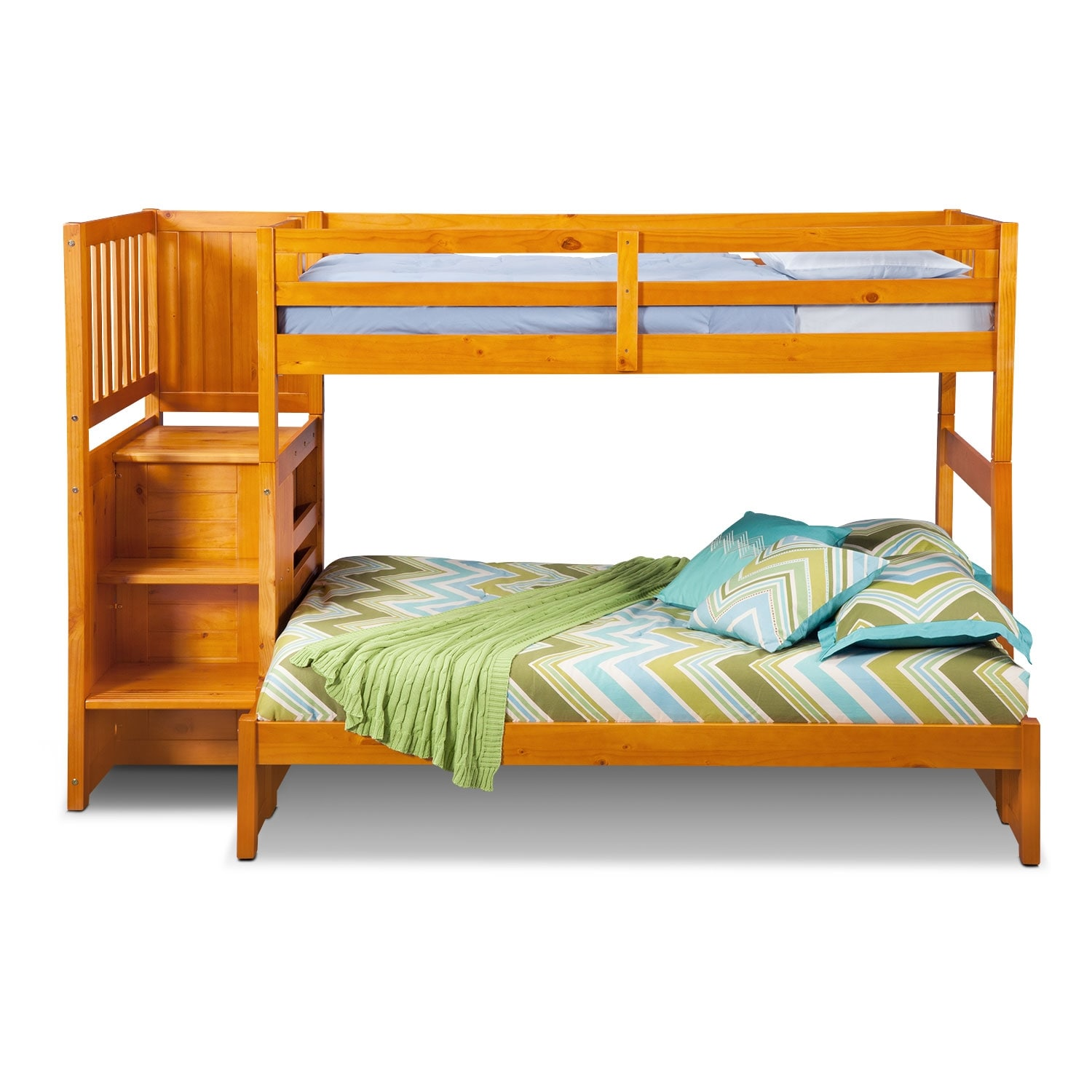 Ranger pine twin full bunk bed w stairs and 4 drawer storage value city furniture - Bunk bed with drawer steps ...