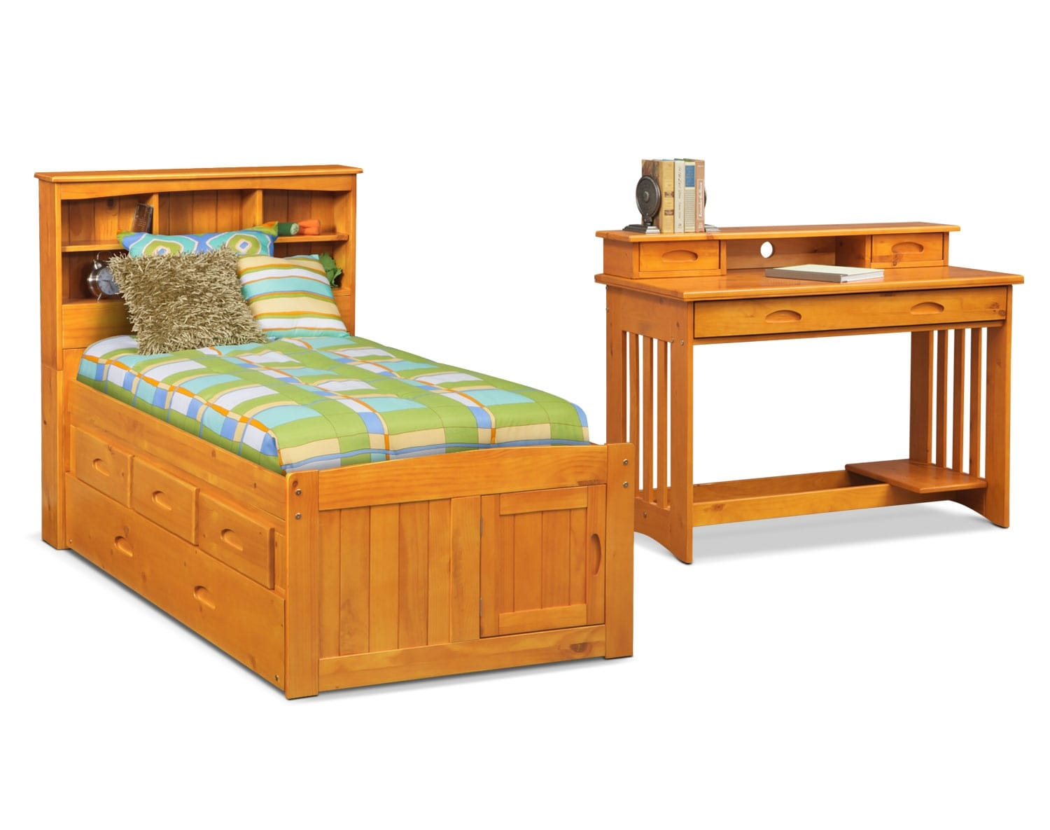 [The Ranger Pine Bookcase Bed Collection]