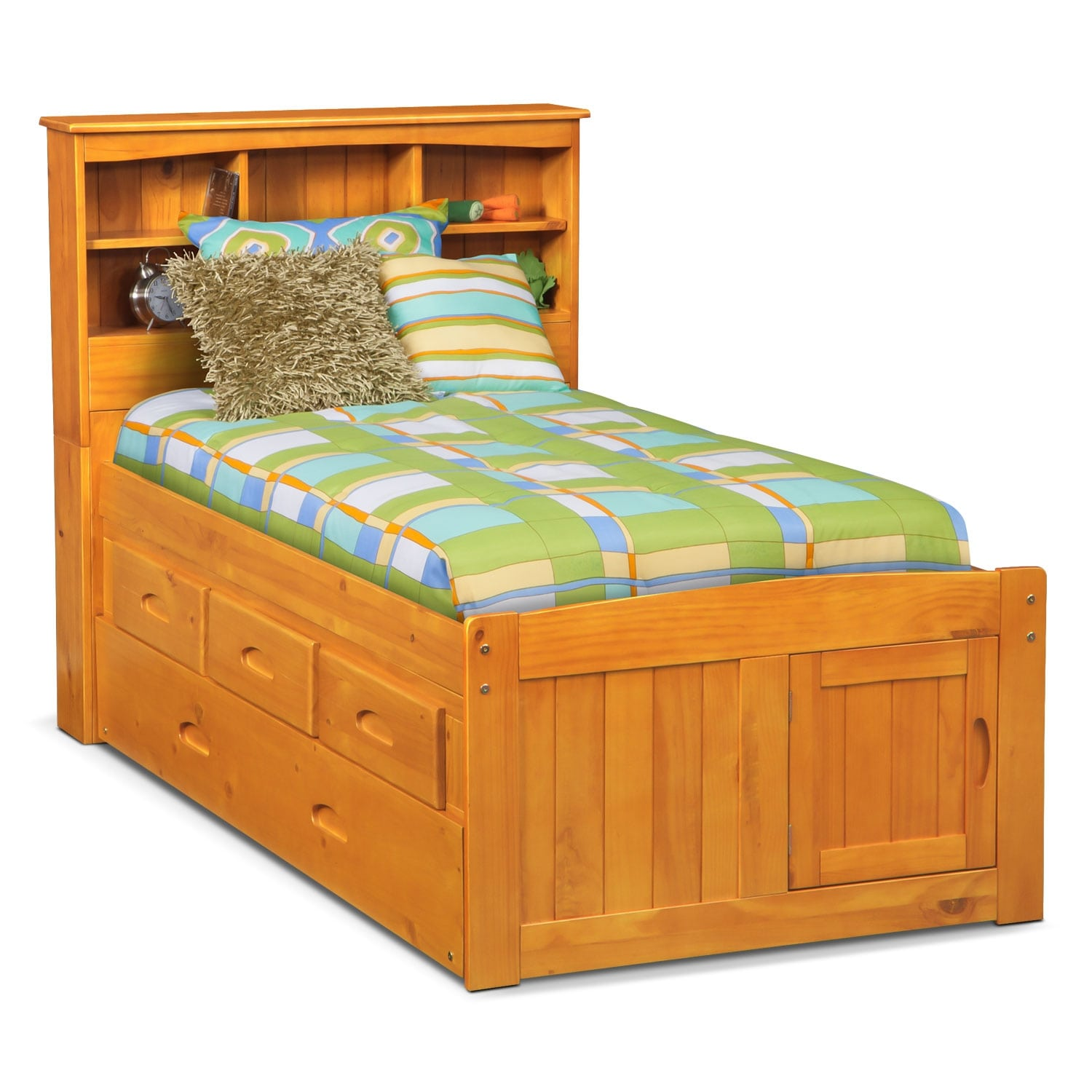 [Ranger Pine Full Bookcase Bed with 3-Drawer Storage & Trundle]