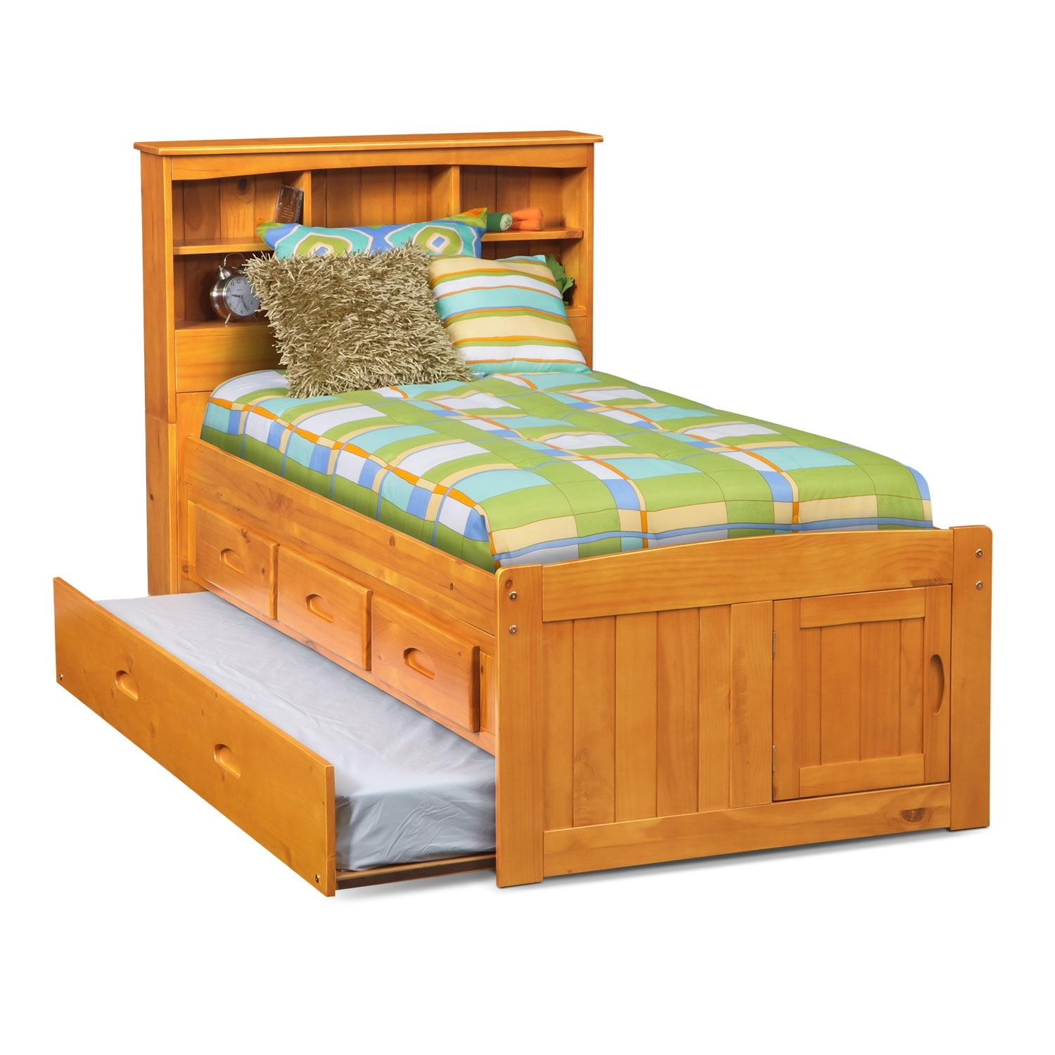 Ranger pine twin bookcase bed with 3 drawer storage for Beds with trundle