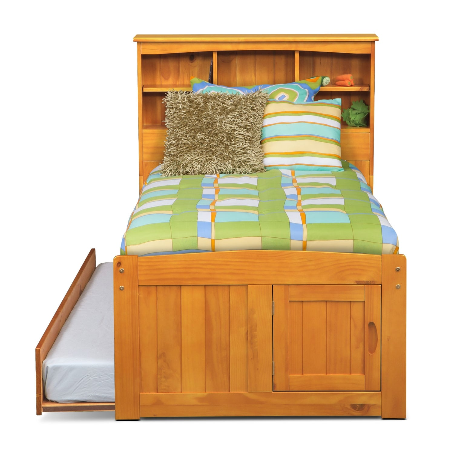 Ranger pine twin bookcase bed with 3 drawer storage for Bookshelf with drawers