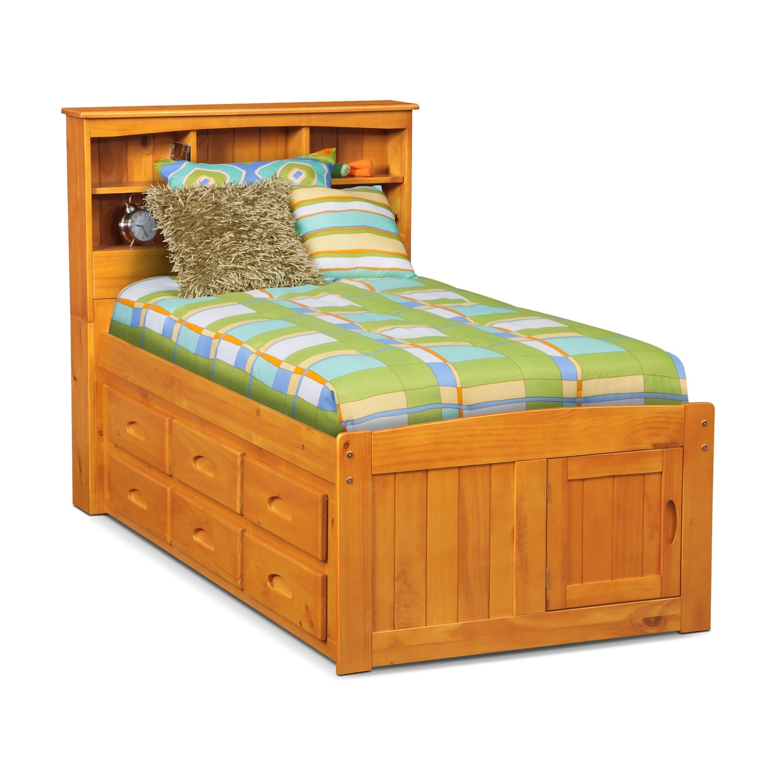 Ranger full bookcase bed with 6 underbed drawers pine for Furniture and beds