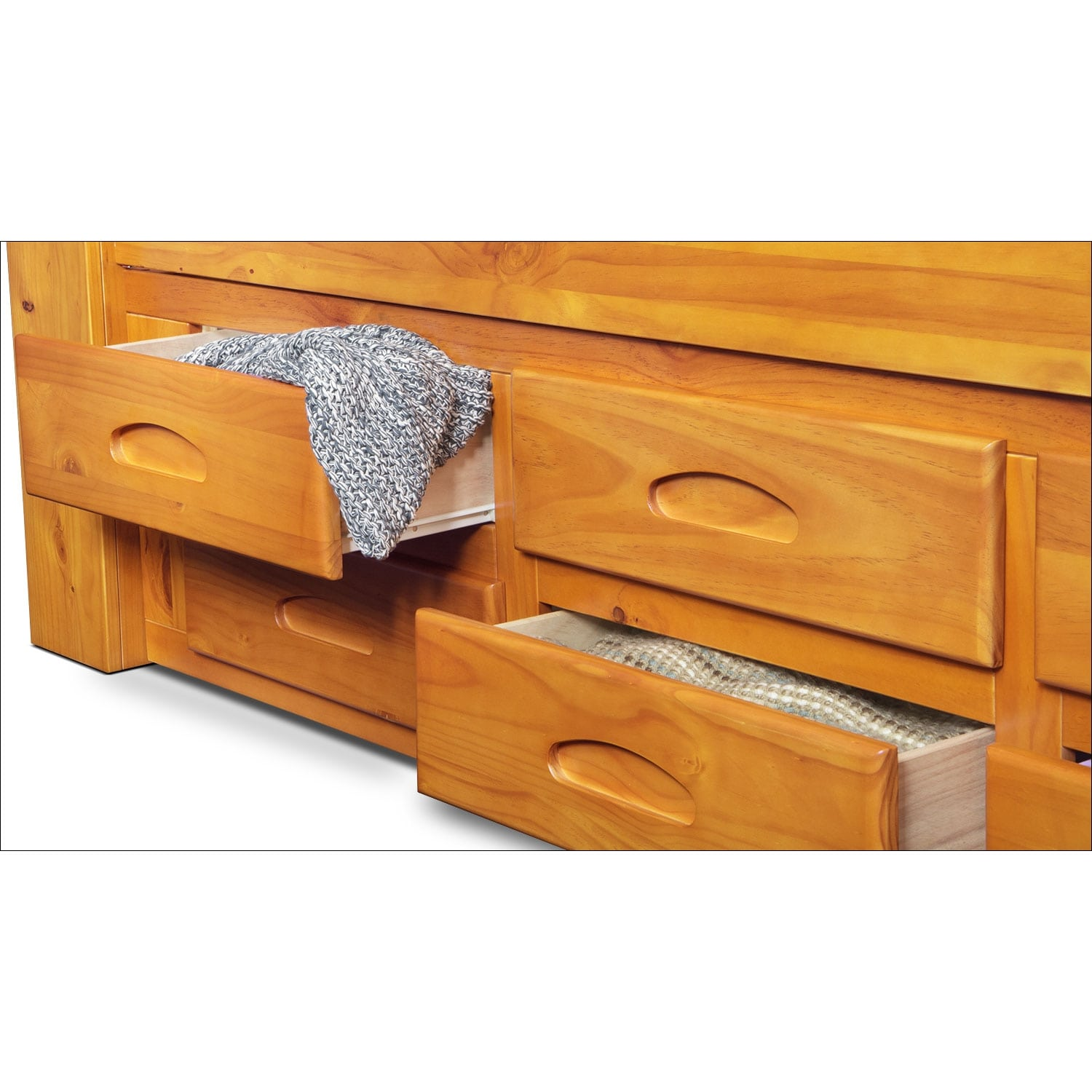 Ranger Full Bookcase Bed With 6 Underbed Drawers Pine