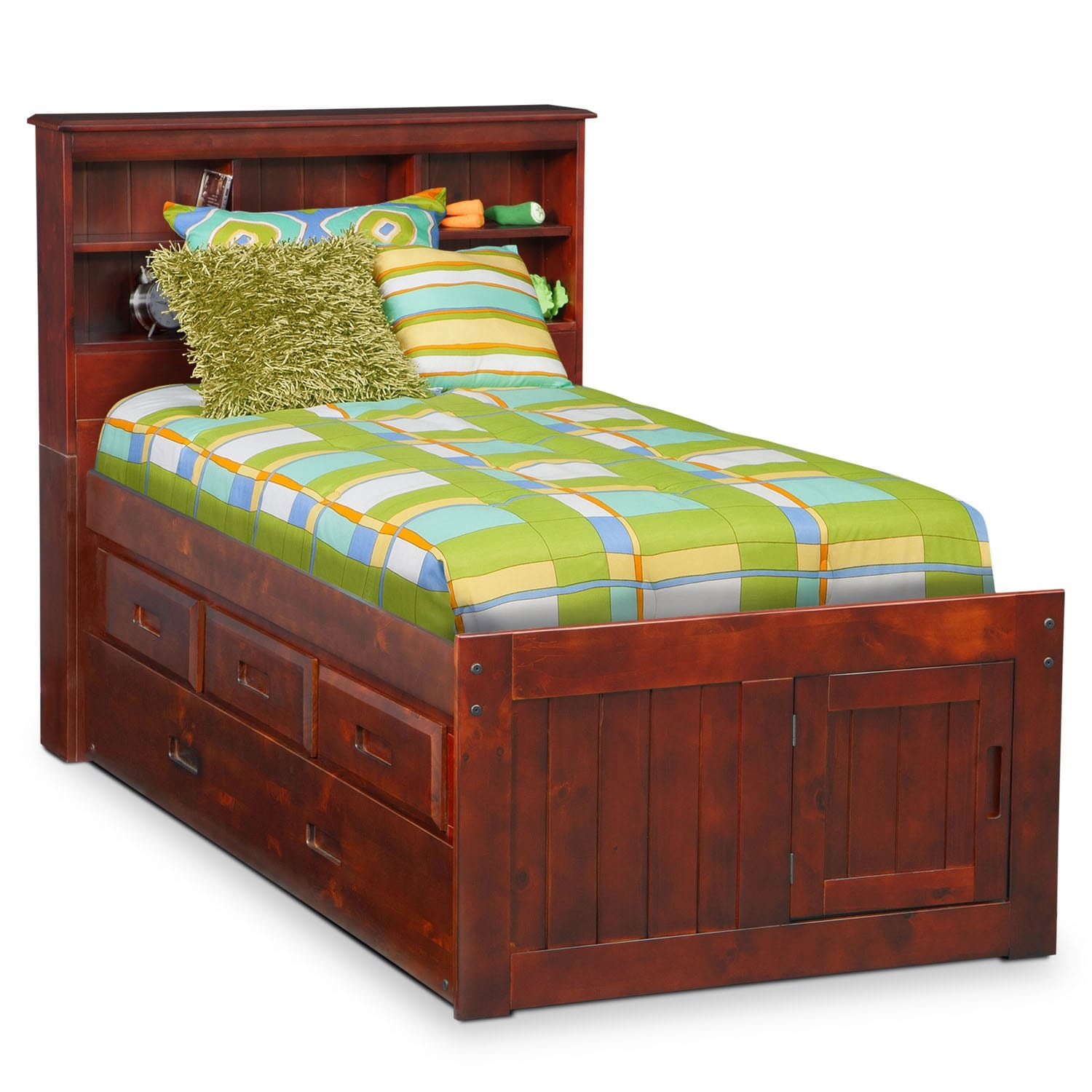 [Ranger Merlot Full Bookcase Bed with 3-Drawer Storage & Trundle]