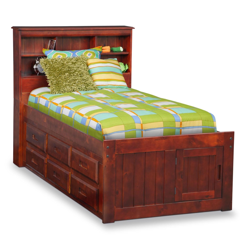 [Ranger Merlot Full Bookcase Bed with 6-Drawer Storage]