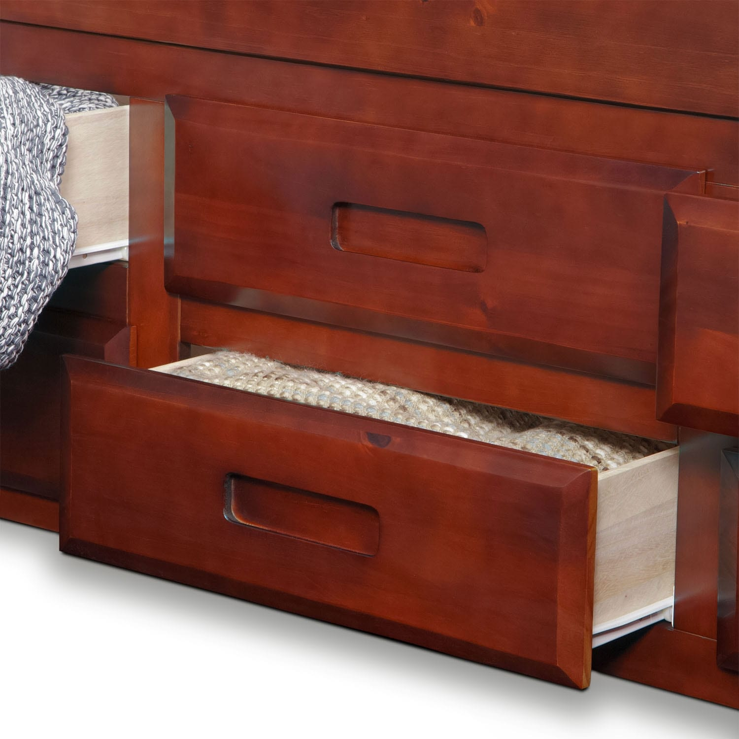 Ranger twin bookcase bed with 6 underbed drawers merlot for Double bed with drawers and mattress