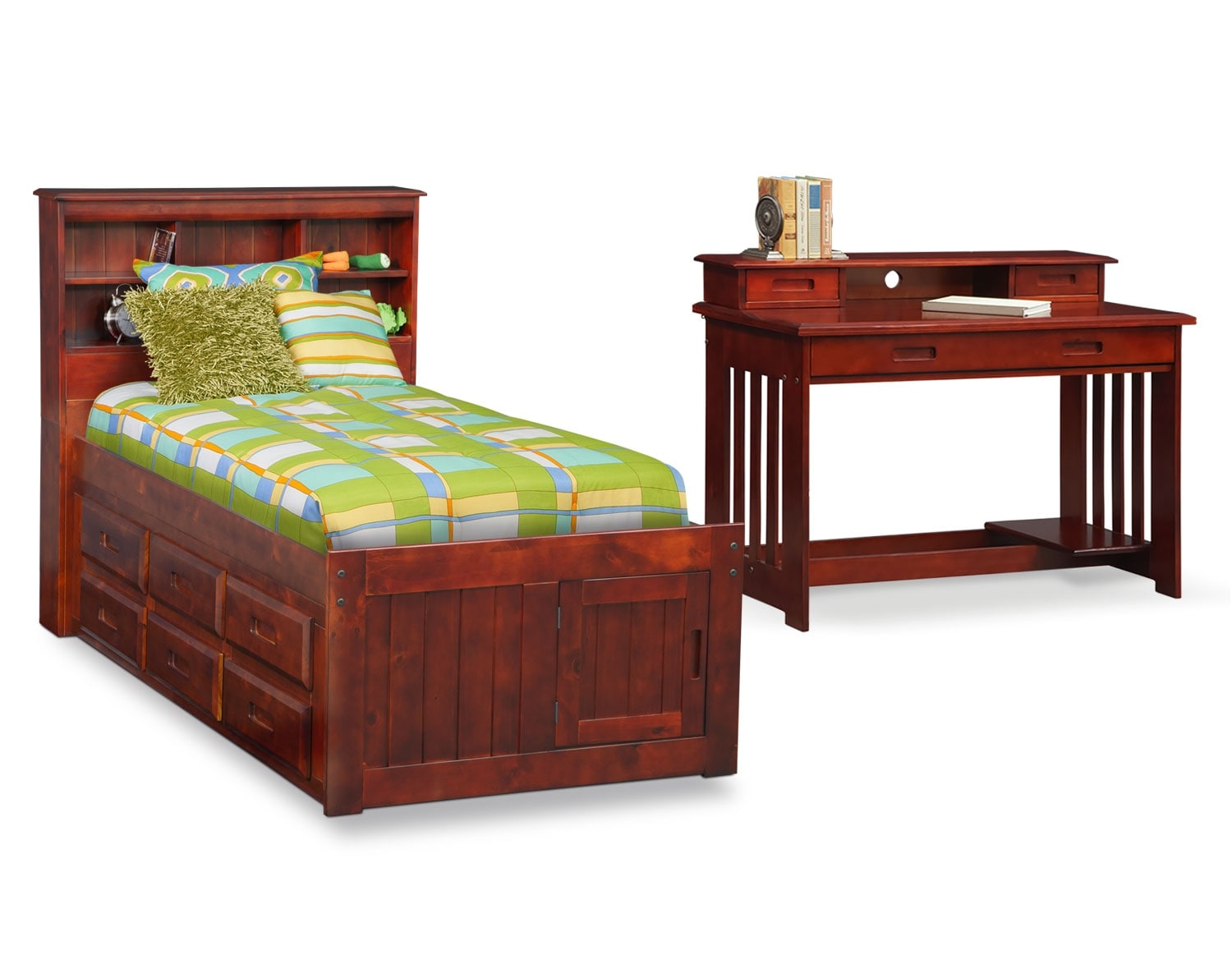 [The Ranger Merlot Bookcase Bed Collection]