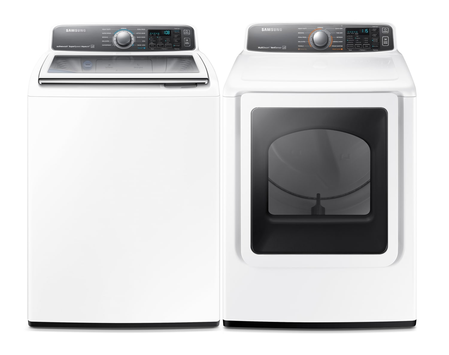[Samsung White Top-Load Washer and Electric Dryer Collection - WA48J7770AW / DV48J7770EW]