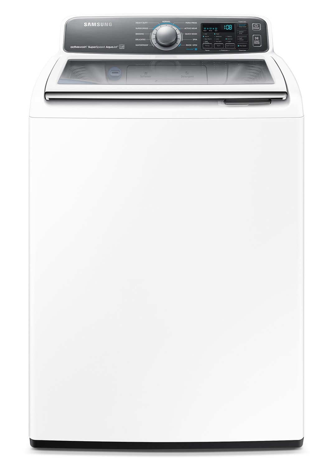Washers and Dryers - Samsung White Top-Load Washer (5.5 Cu. Ft. IEC) - WA48J7770AW/A2