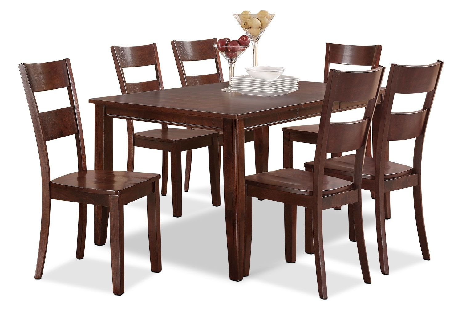 Holland 7-Piece Dinette Set - Brown Cherry