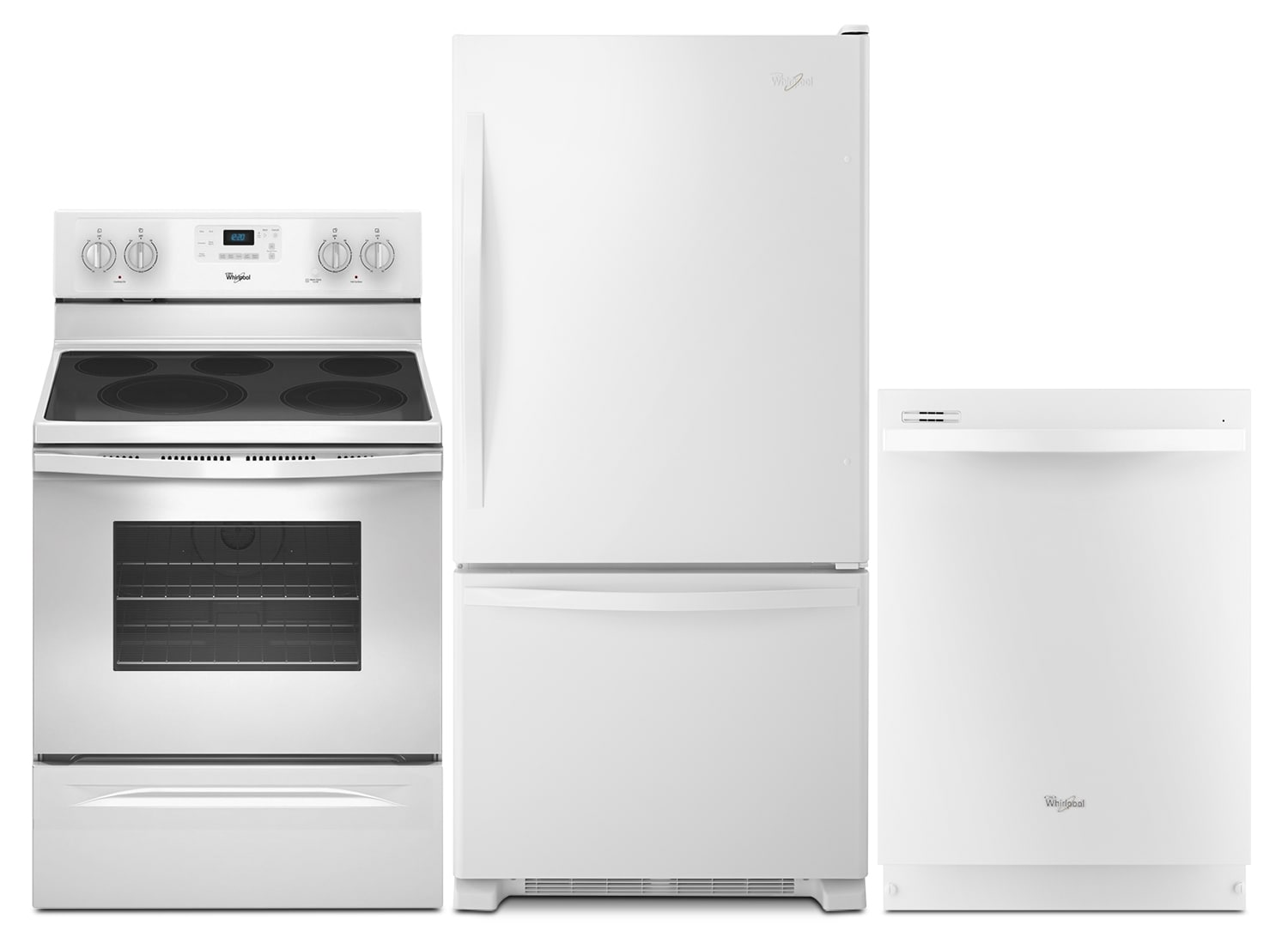 Whirlpool 18.5 Cu. Ft. Refrigerator, Electric Convection Range and Built-In Dishwasher - White