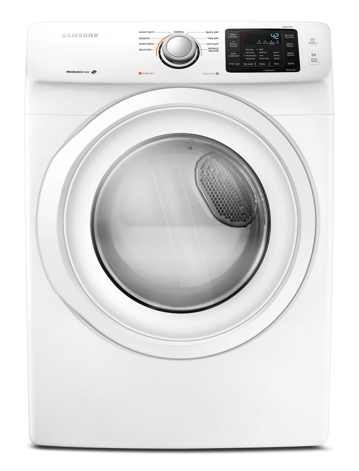 Washers and Dryers - Samsung White Electric Dryer (7.5 Cu. Ft.) - DV42H5000EW