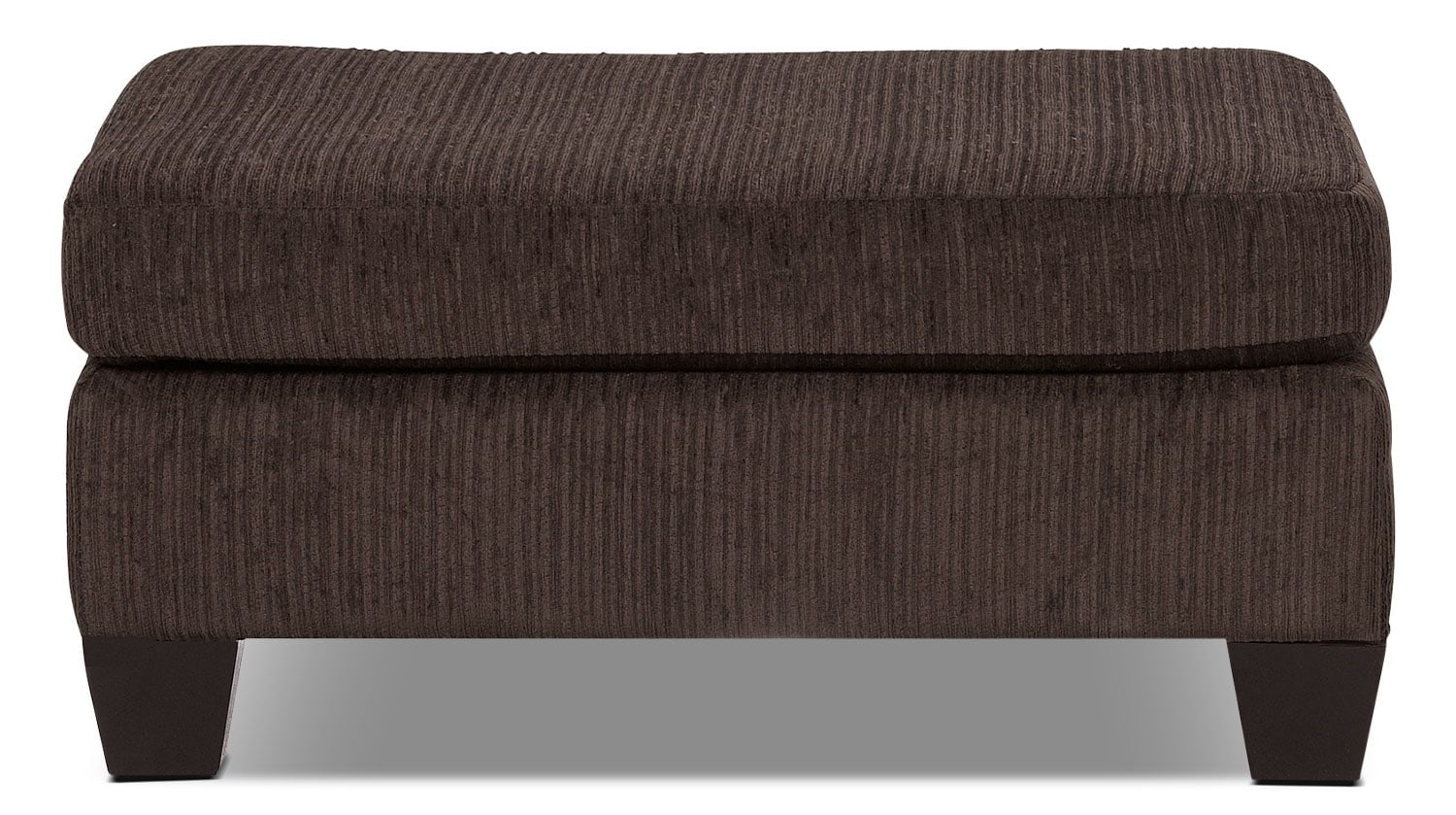Living Room Furniture - Putty Chenille Ottoman - Chocolate