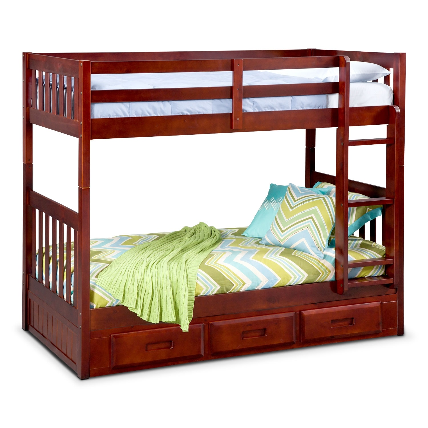 ranger twin over twin storage bunk bed merlot