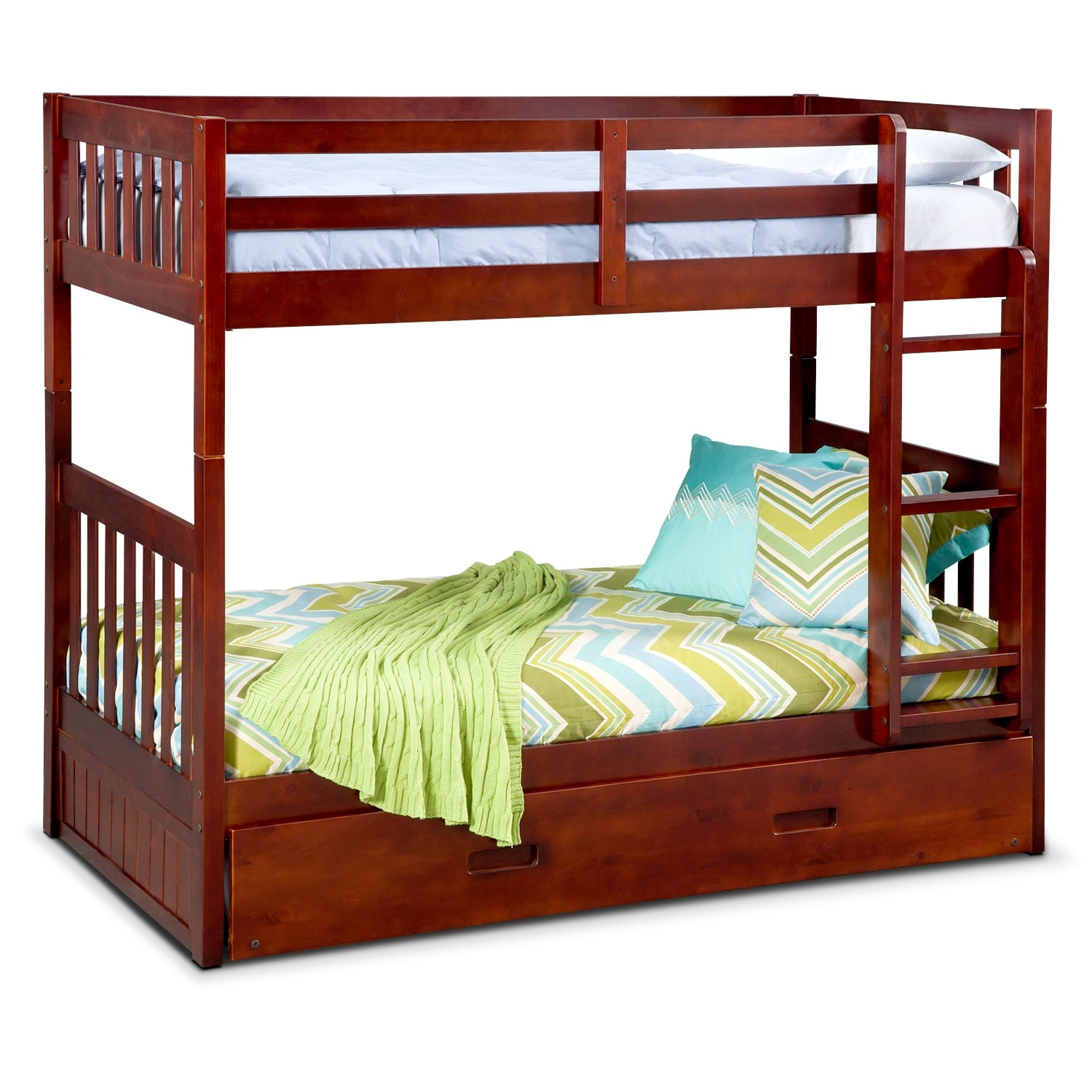 Ranger twin over twin bunk bed with trundle merlot for Beds with trundle