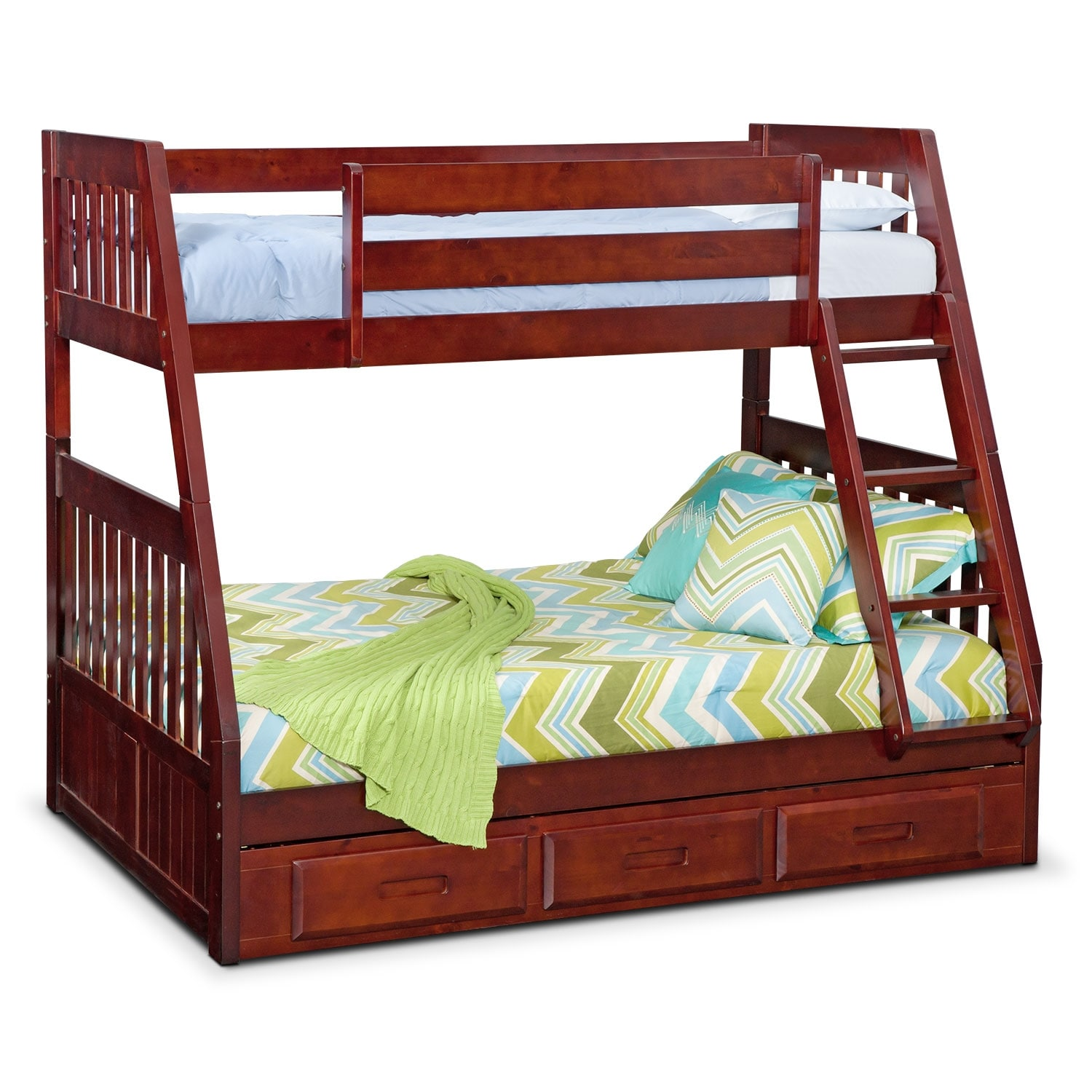 [Ranger Merlot Twin/Full Bunk Bed with Storage]