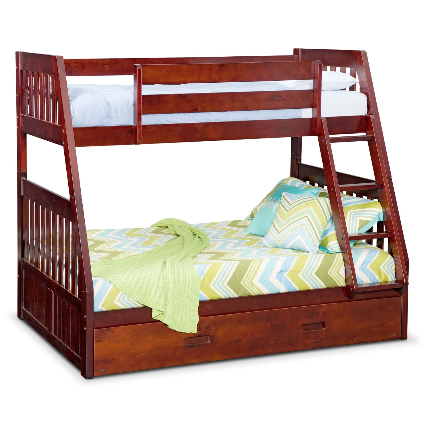 [Ranger Merlot Twin/Full Bunk Bed with Trundle]