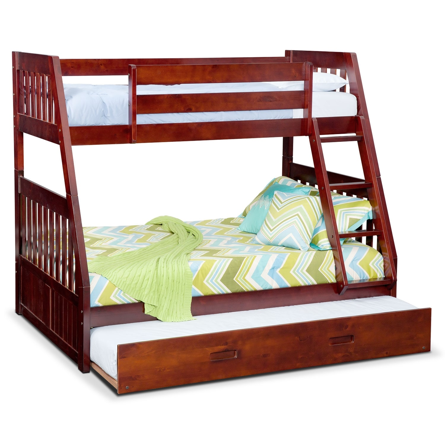 Ranger twin over full bunk bed with trundle merlot for Beds with trundle