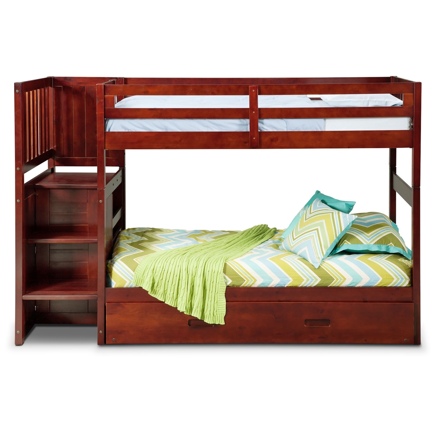 Ranger Merlot Twin Twin Bunk Bed With Stairs Storage And