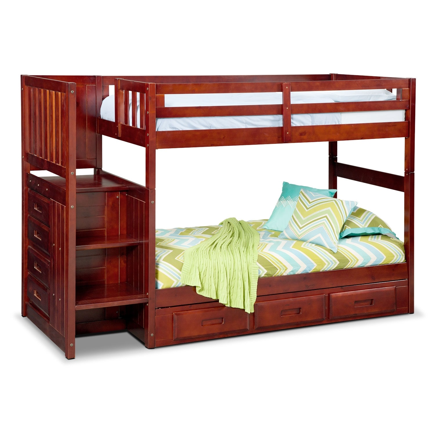 Ranger merlot twin twin bunk bed with stairs and 7 drawer storage value city furniture - Bunk bed with drawer steps ...
