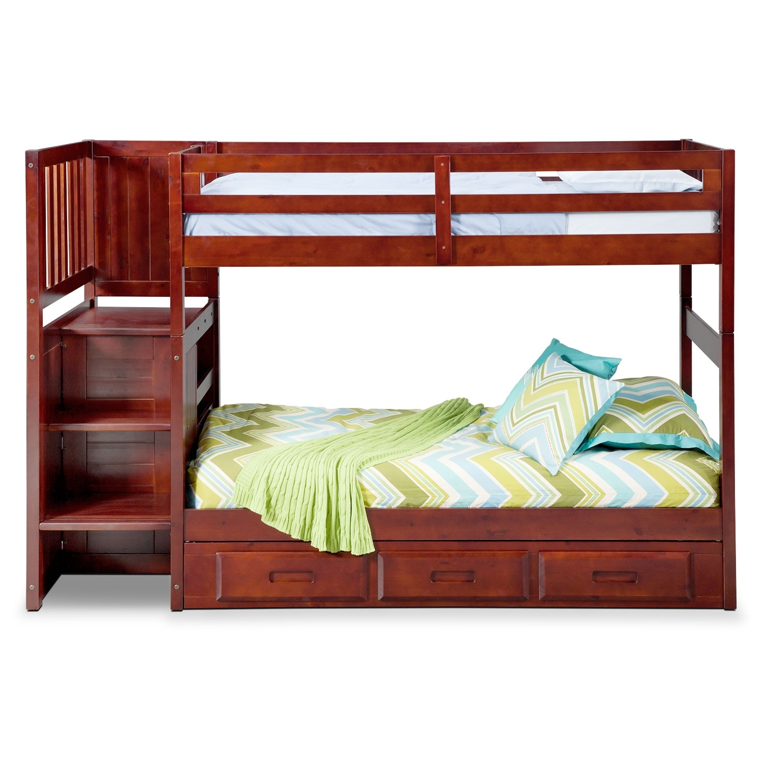 Ranger merlot twin twin bunk bed with stairs and 7 drawer for Kids twin bed with drawers