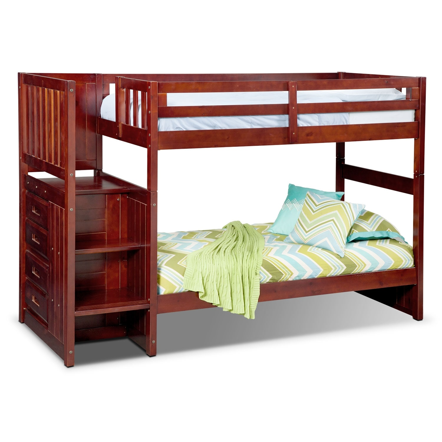 Ranger merlot twin twin bunk bed with stairs and 4 drawer for Furniture and beds