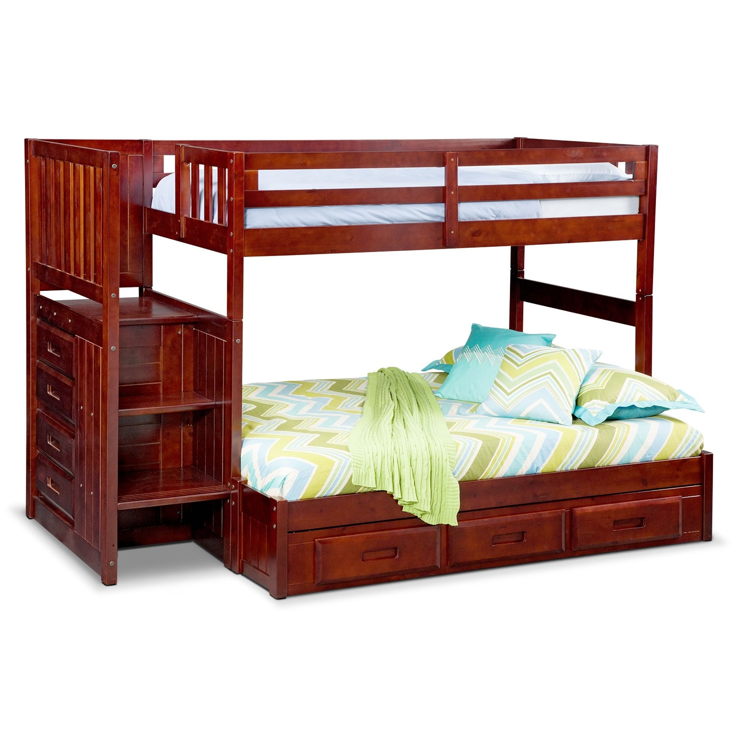 [Ranger Merlot Twin/Full Bunk Bed with Stairs and 7-Drawer Storage]