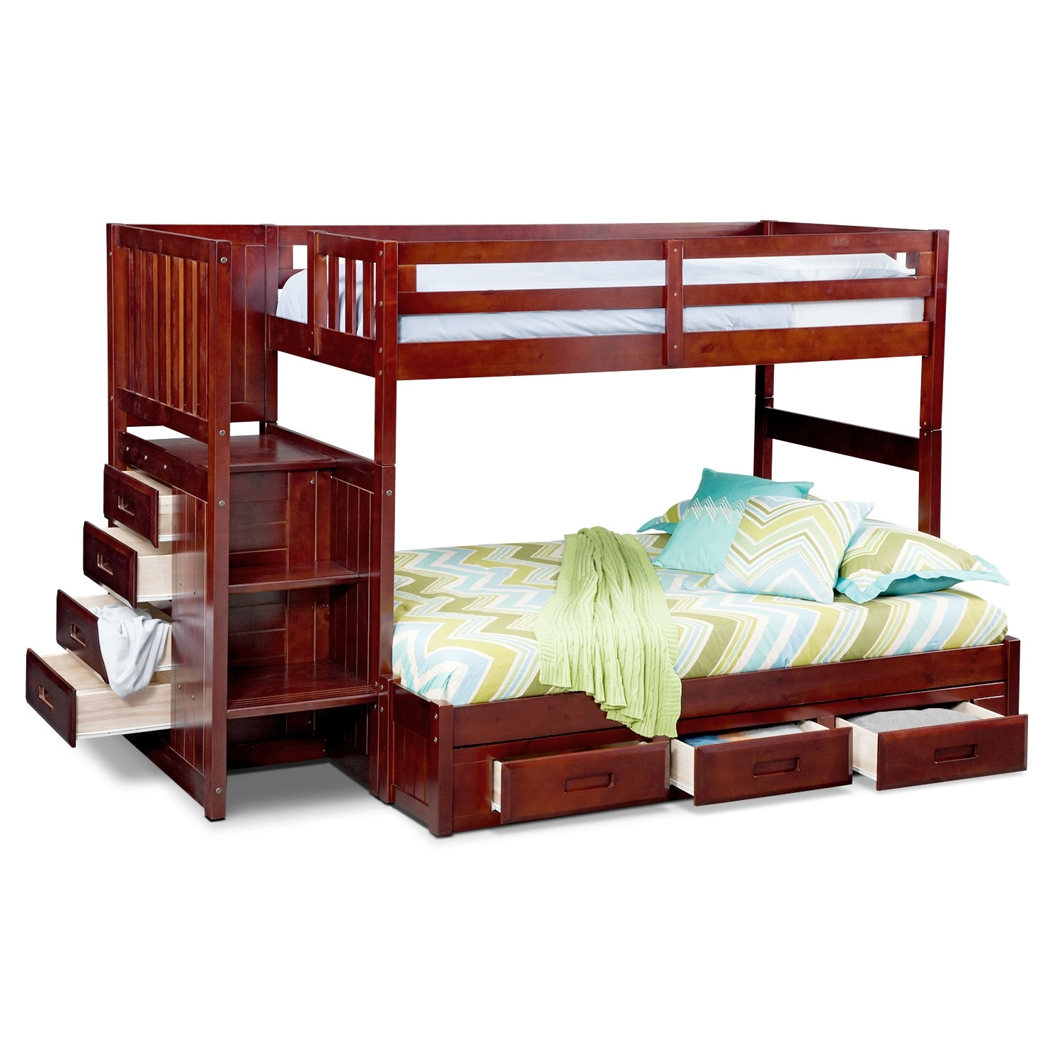 Ranger merlot twin full bunk bed with stairs and 7 drawer storage american signature furniture - Bunk bed with drawer steps ...