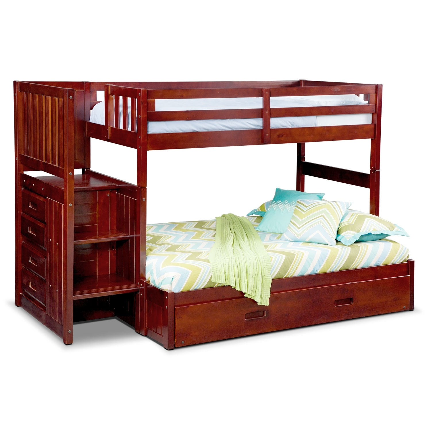 ranger twin over full bunk bed with storage stairs and trundle merlot value city furniture. Black Bedroom Furniture Sets. Home Design Ideas