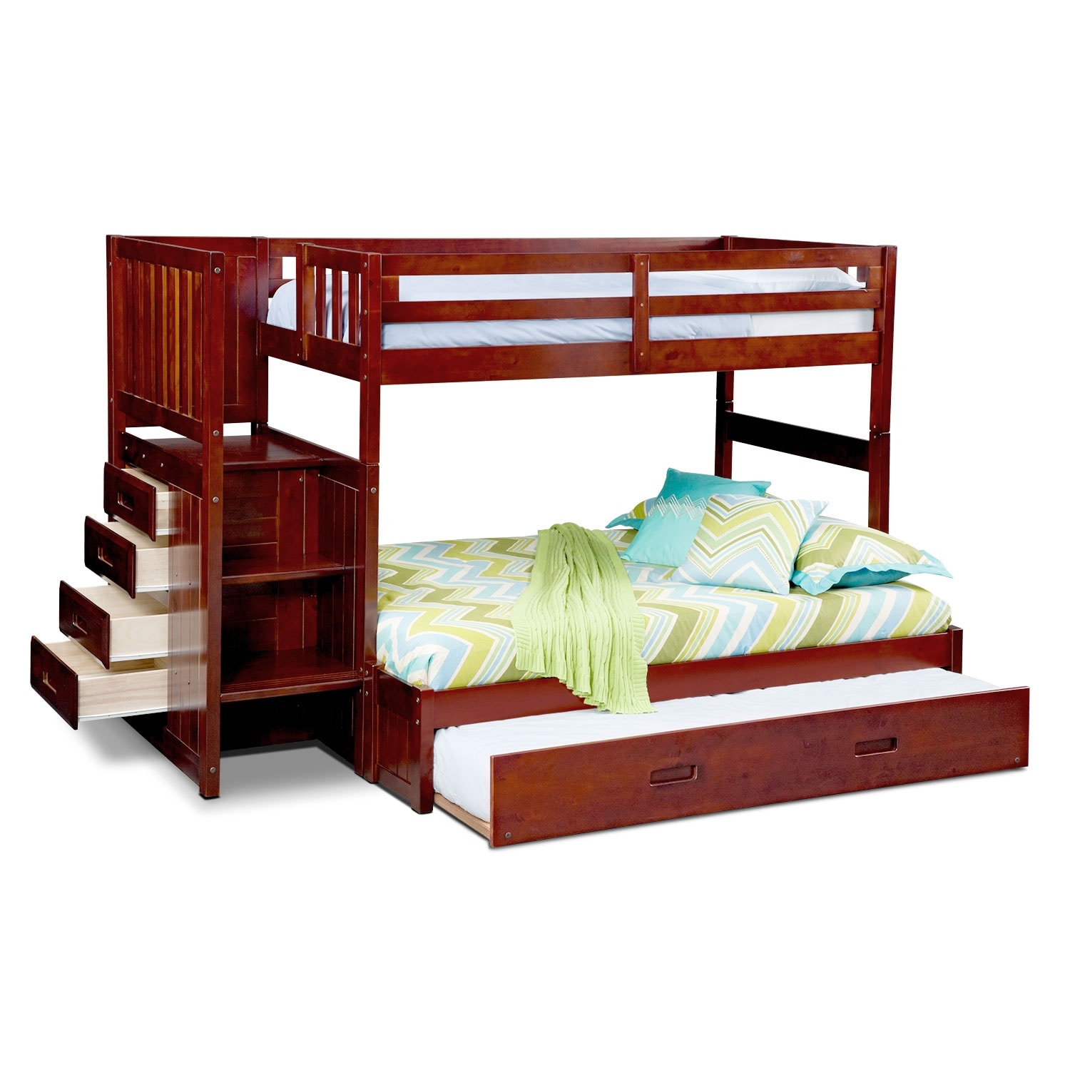 Bed Over Stair Box With Storage And Stairs: Ranger Twin Over Full Bunk Bed With Storage Stairs And