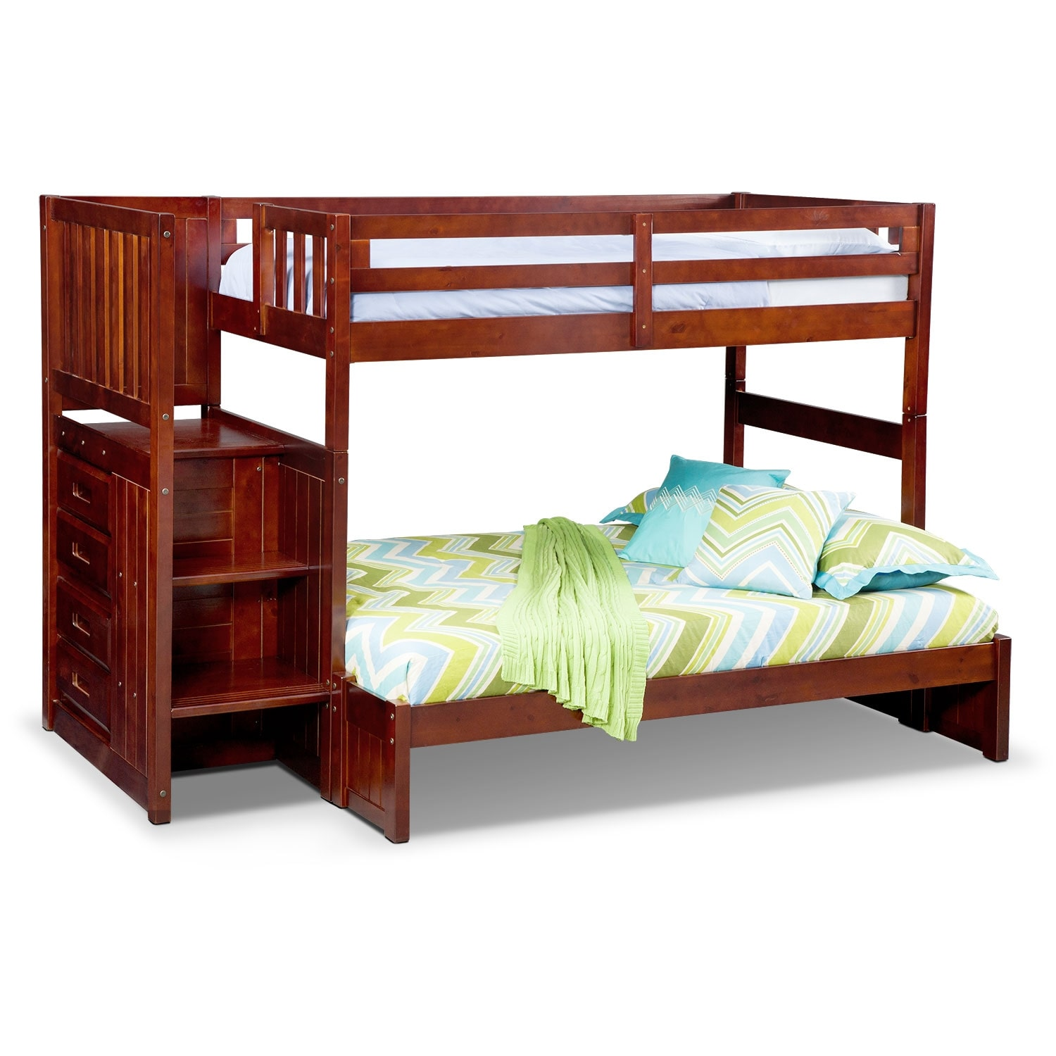 [Ranger Merlot Twin/Full Bunk Bed with Stairs and 4-Drawer Storage]