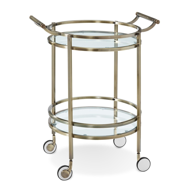 Layne serving cart brass value city furniture - Dining room serving carts ...