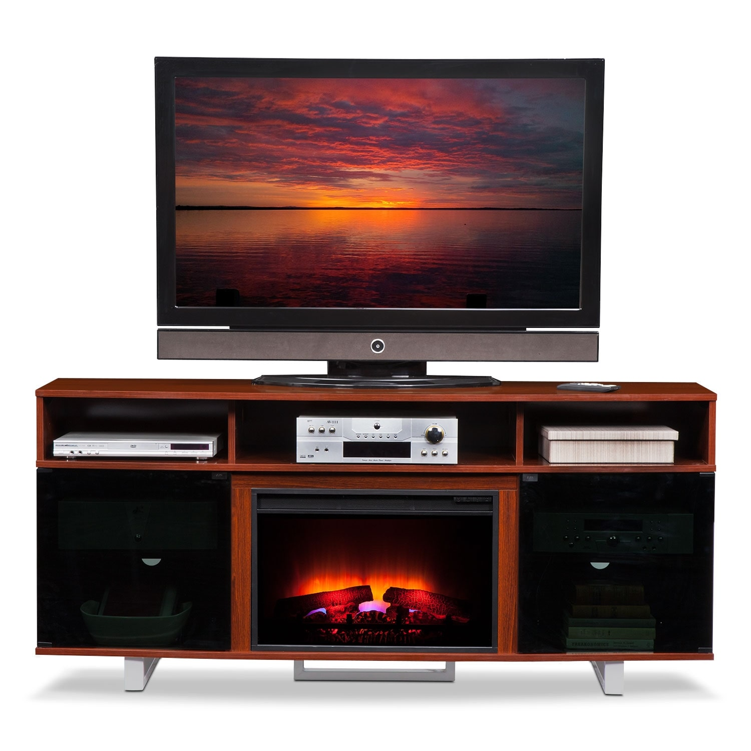 pacer 72 traditional fireplace tv stand cherry