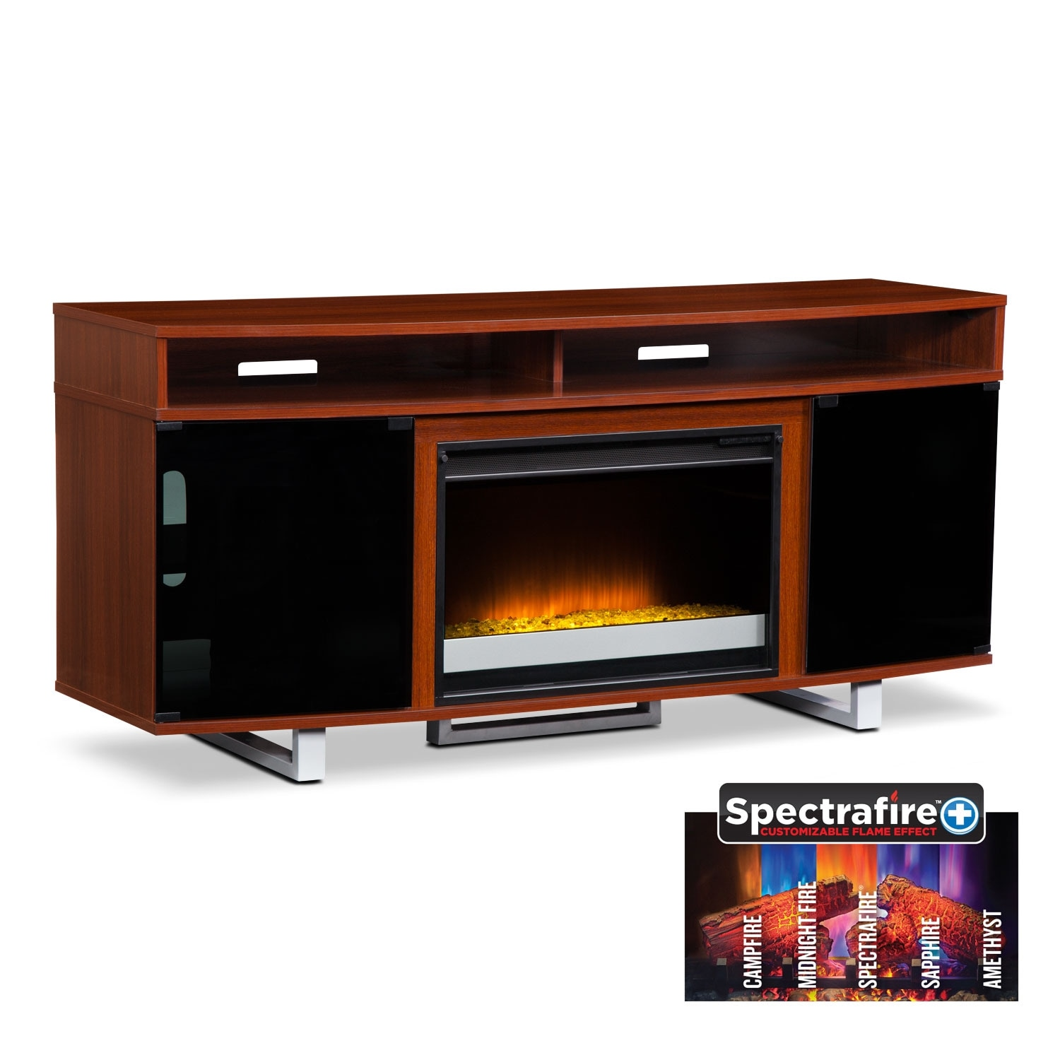 pacer 64 contemporary fireplace tv stand cherry value