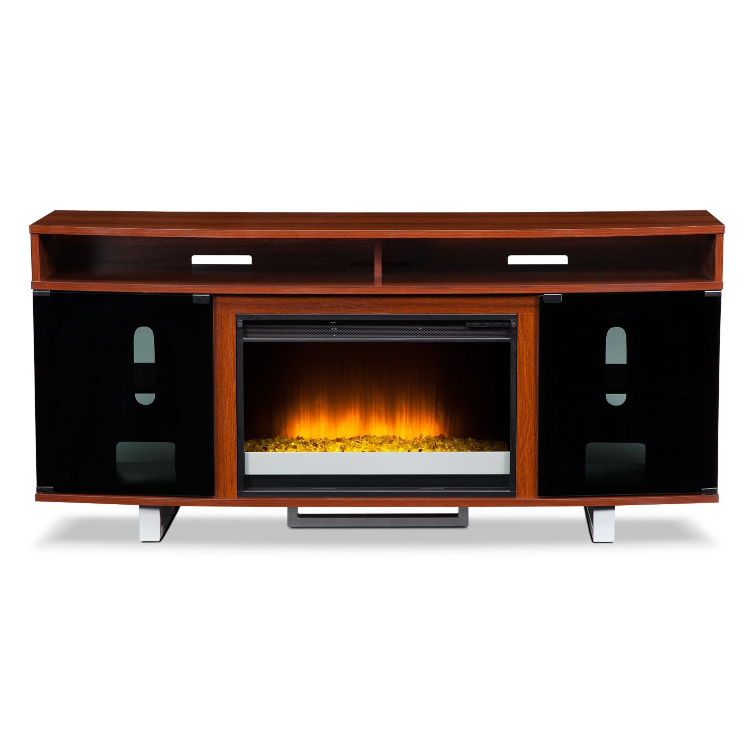 Pacer 64 Contemporary Fireplace Tv Stand Cherry Value City Furniture