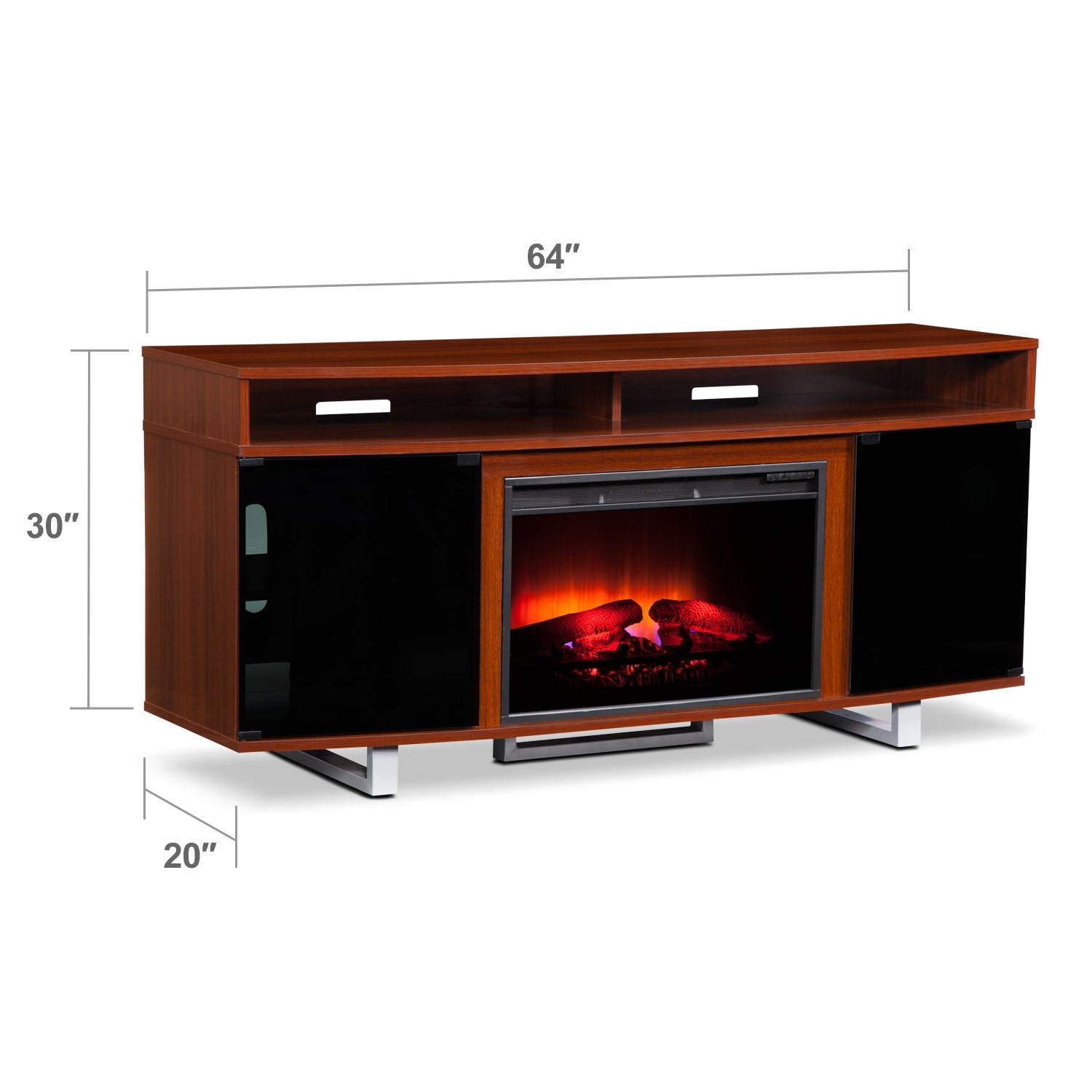 Pacer 64 Traditional Fireplace Tv Stand Cherry Value City Furniture